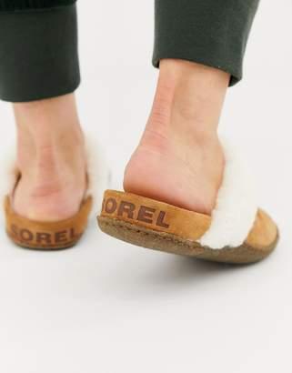 Sorel Nakiska Slide Tan Suede Slipper With Faux Fur Lining