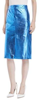 Tibi Metallic Faux-Leather A-Line Midi Skirt