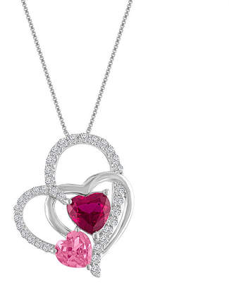 FINE JEWELRY Lab-Created Ruby & Pink & White Sapphire Sterling Silver Interlocking Heart Pendant Necklace