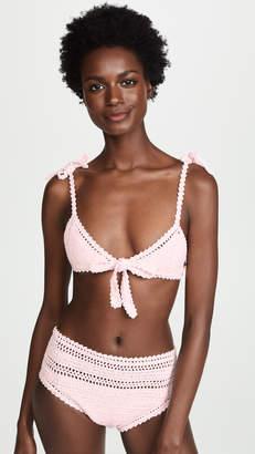 She Made Me Lalita Crochet Tie Up Triangle Bikini Top
