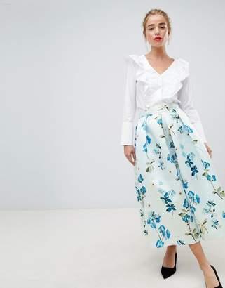 Closet London full prom midi skirt in floral print