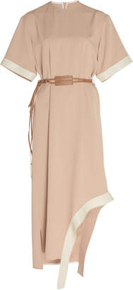 Victoria Beckham Asymmetric Belted Crepe De Chine Midi Dress