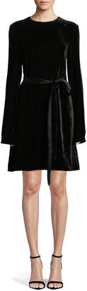 Theory Long-Sleeve Crewneck Belted A-Line Crinkle Velvet Dress