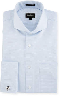 Neiman Marcus Classic-Fit Dobby Dress Shirt, Blue
