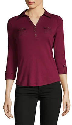 Karen Scott Petite Three-Quarter Sleeve Cotton Polo