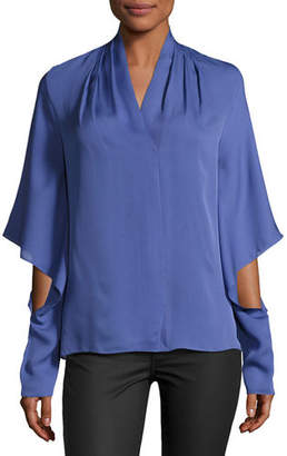 Kobi Halperin Edyn Cascading Long-Sleeve Silk Blouse