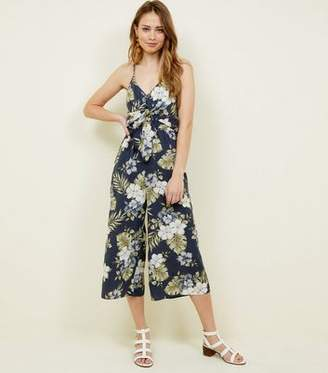 New Look Navy Tropical Print Tie Front Culotte Jumpsuit