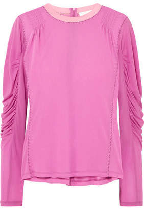 Chloé Ruched Satin-jersey Top - Pink