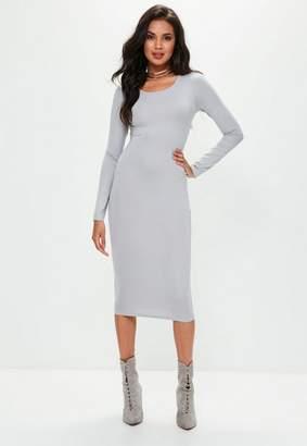 Missguided Grey Long Sleeve Plain Midi Bodycon Dress
