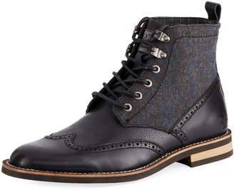 Original Penguin Men's Nathan Leather & Flannel Wing-Tip Boots, Black