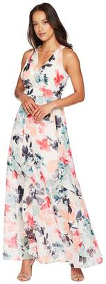 Vince Camuto Printed Chiffon Maxi with V-Neck and Ruffle Women's Dress