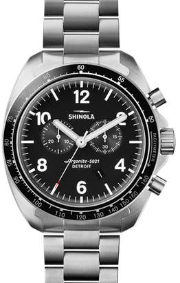 Shinola Men's 44mm Rambler 600 Tachymeter Watch, Silver