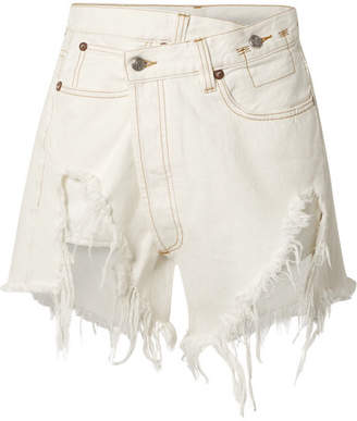 R 13 Distressed Denim Wrap Shorts - White