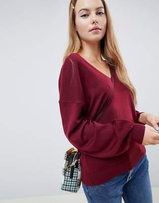 Asos Design DESIGN eco v neck jumper with balloon sleeve
