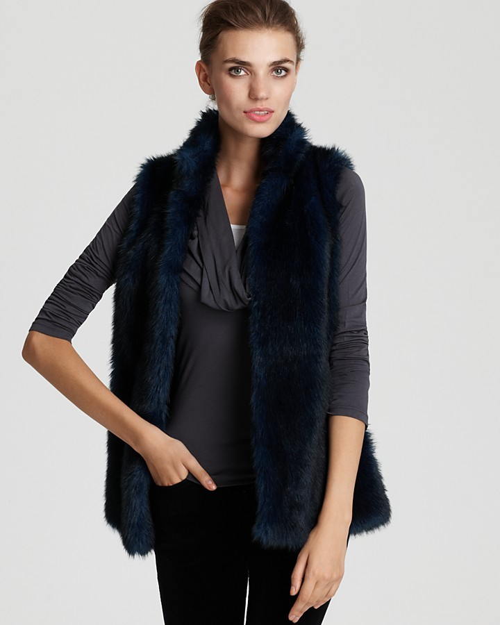 Aqua Faux Fur Vest with Stand Up Collar