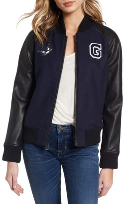Women's Guess Patch Detail Mixed Media Bomber Jacket $138 thestylecure.com