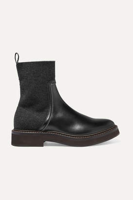 Brunello Cucinelli Bead-embellished Leather And Cashmere Chelsea Boots - Black