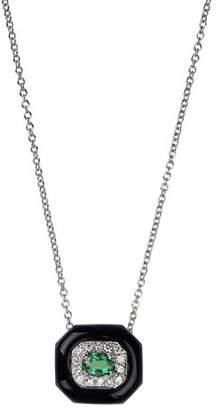 Nikos Koulis 18k White Gold Oui Diamond & Emerald Pendant