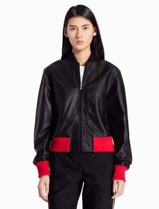 Calvin Klein nappa leather color contrast bomber jacket