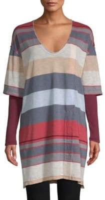 Free People Kate Longline Striped V-Neck Tunic