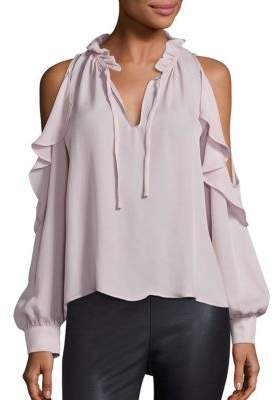 Parker Marjorie Cold-Shoulder Silk Blouse