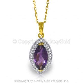 """Marquis Galaxy Gold 14K 22"""" Yellow Gold Necklace with Natural Diamonds and Shaped Amethyst"""