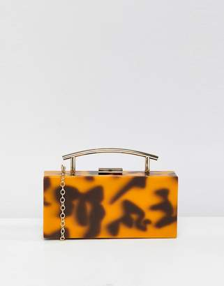 Asos DESIGN tortoiseshell marble clutch bag