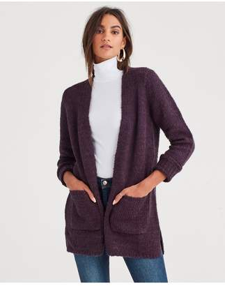 7 For All Mankind Cardigan Sweater In Deep Purple