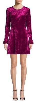Highline Collective Shirred-Neck Ruffle Cuff Long Sleeve Dress
