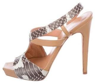 Aperlaï Snakeskin Slingback Sandals