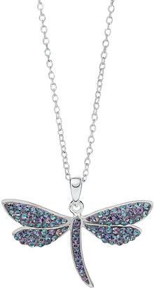 Hue Sterling Silver Crystal Dragonfly Pendant Necklace