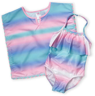 Sol Swim (Toddler Girls) Two-Piece Mesmerize One-Piece Swimsuit & Cover-Up Set