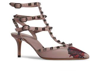 Valentino GARAVANI Rockstud Chain Rose Print T-Strap Pump