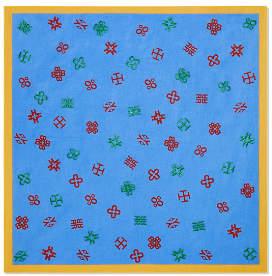 Tory Burch Hicks Alphabet Embroidered Neckerchief