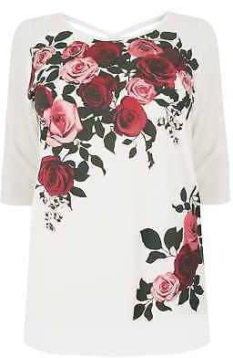 Yours Clothing Women's Plus Size Rose Print Top With Cross Over Back