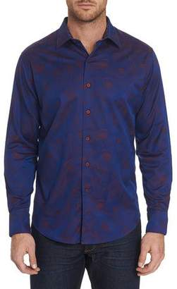 Robert Graham Men's Frenchie Patterned Sport Shirt with Contrast Detail
