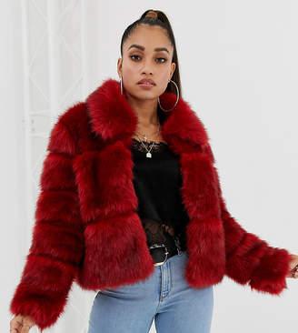 Missguided Petite exclusive petite bubble faux fur coat in red