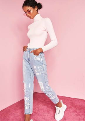 Ever New Jaclyn Denim Slogan Painted Distressed Jeans