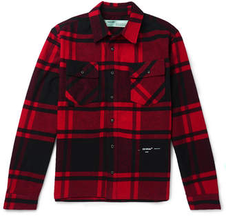 Off-White Embellished Checked Cotton-Blend Flannel Shirt