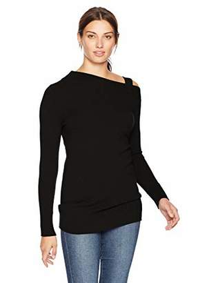 Lark & Ro Women's Sweaters Off the Shoulder Cashmere Sweater with Removable Strap