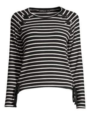Generation Love Women's Kath Striped Tee - Black White - Size XS
