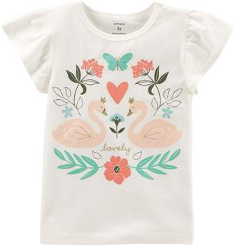 Carter's Toddler Girl Glittery Swan Graphic Top