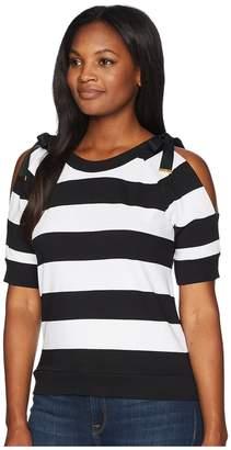 Lauren Ralph Lauren Striped French Terry Cold-Shoulder Top Women's Clothing