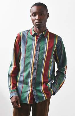 PacSun Jet Stripe Relaxed Long Sleeve Button Up Shirt
