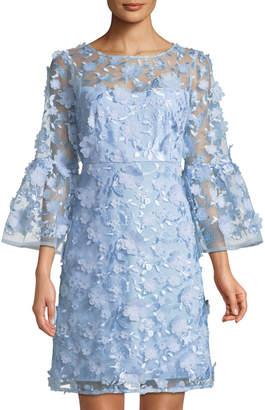 Jax 3-D Floral-Appliqué Illusion Cocktail Dress