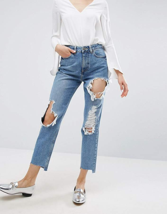Asos ASOS ORIGINAL MOM Jeans in Phoebe Mid Stonewash with Busts and Stepped Hem