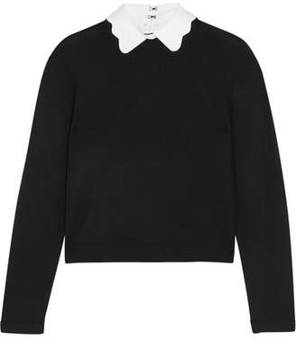 Alice + Olivia Alice Olivia - Dia Scalloped-collar Wool-blend Sweater - Black $295 thestylecure.com