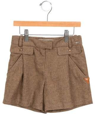 Chloé Girls' Leather-Trimmed High-Rise Shorts w/ Tags
