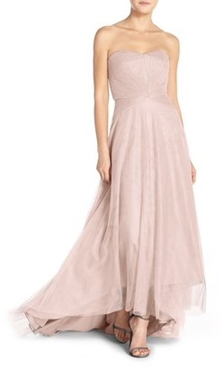Women's Monique Lhuillier Bridesmaids Pleat Tulle Strapless Gown $298 thestylecure.com