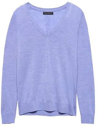 Banana Republic Machine-Washable Merino Wool Solid V-Neck Sweater